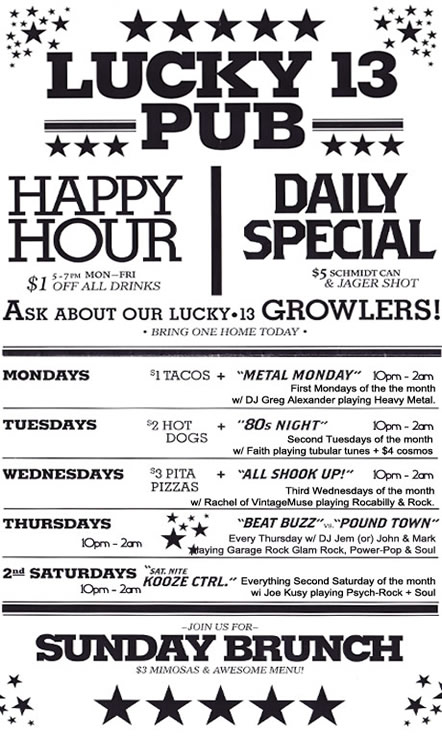 Lucky 13 Pub September Specials